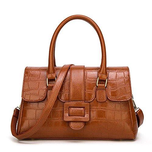 Penao Sra. Litchi patrón bolso tendencia vuelta cien messenger bandolera, tamaño 34cmx14cmx22cm Brown