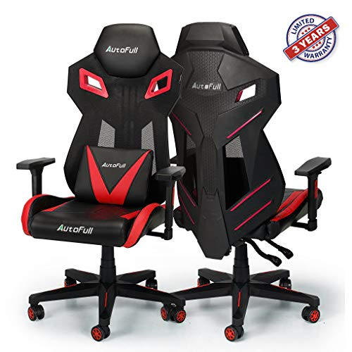 GTRACING Audio Gaming Chair with Bluetooth Speakers Patented GT899 Red Chair and Stool Set