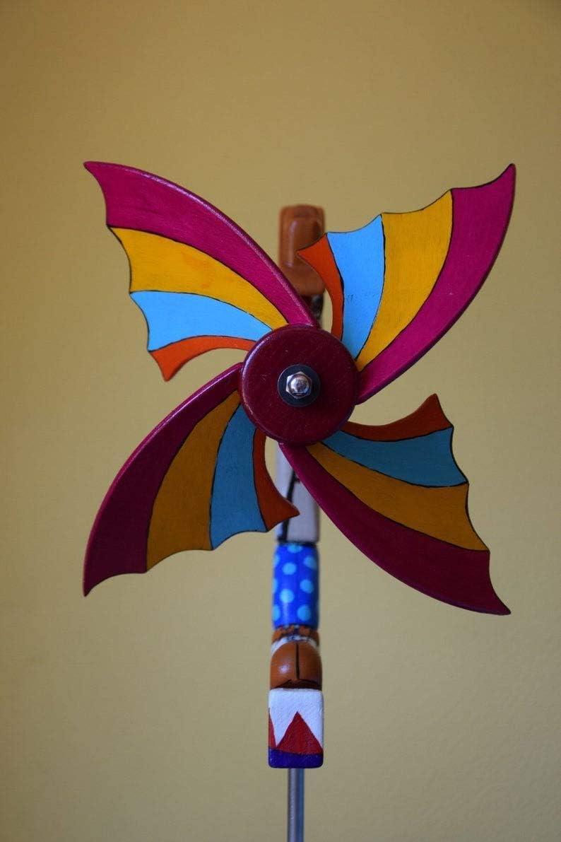 Figurine de jardin ext/érieur dr/ôle comme cadeau ou ornements Whirligig Clown moulin /à vent jouets d/écoratifs faits /à la main uniques