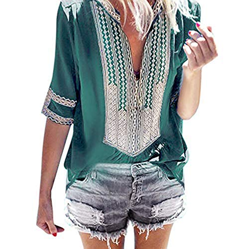 Alangbudu Women Boho Embroidered Baggy Tops Lace Crochet Short Sleeve V Neck Casual T-Shirt Loose Fit Blouse Swing Tunic