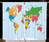 2 Panel Set Thermal Insulated Blackout Window Curtain,Map Classical Colorful Map of World in Political Style Travel Europe America Asia Africa Decorative Multicolor,for Bedroom Living Room Dorm Kitche