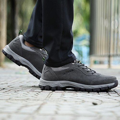 Deportes para caminar Senderismo con Hombres al deporte de cordones aire trekking 48 39 NEOKER Gris Ejército Verde libre de Zapatillas Escalada Zapatos Marrón Botas Gris tqw8xI5