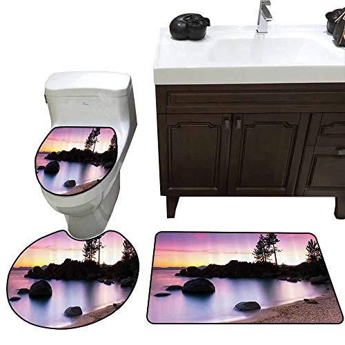 (3 Piece Bathroom Rug Set Nature Lake Tahoe Beach at Sunset with Dreamy Purple Misty Sky Surreal Coast Scenery Custom Made Rug Set Dark Brown)