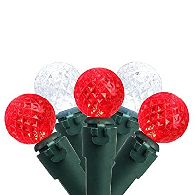 "Set of 50 Red & Pure White LED G12 Berry Christmas Lights 4"" Bulb Spacing - Green Wire"
