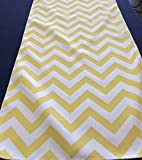 Yellow and White Chevron Table Runner 90 x 13 Wedding Holiday Birthday Easter Table Décor