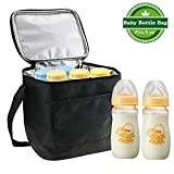 Gifort UPDATE MATERIAL Baby Bottle Cooler Bag, Breastmilk Insulated Cooler Tote Storage For Travel Or Work, for Cooler Tote Storage, BLACK (Fits up to most 8 Oz. Bottles)