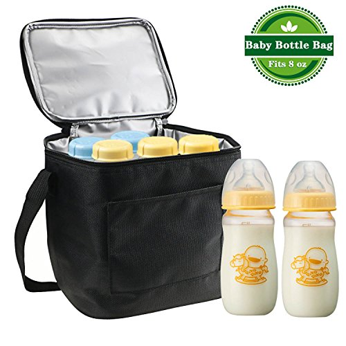 Gifort UPDATE MATERIAL Baby Bottle Cooler Bag, Breastmilk Insulated Cooler Tote Storage For Travel Or Work, for Cooler Tote Storage, BLACK (Fits up to most 8 Oz. - Travel Storage Milk