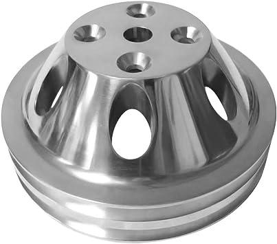 SBC Chevy 2V 2 Groove Billet Aluminum Crank Pulley Long Water Pump 305 350 400