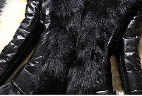 Imbottita Di Giacca Casual Stlie Lunga Manica Fit Schwarz Invernali Moda Monocromo Collo Giubotto Slim Grazioso Donna Pelle Elegante Pelliccia Accogliente Cappotti Sintetica wgqgaZ6
