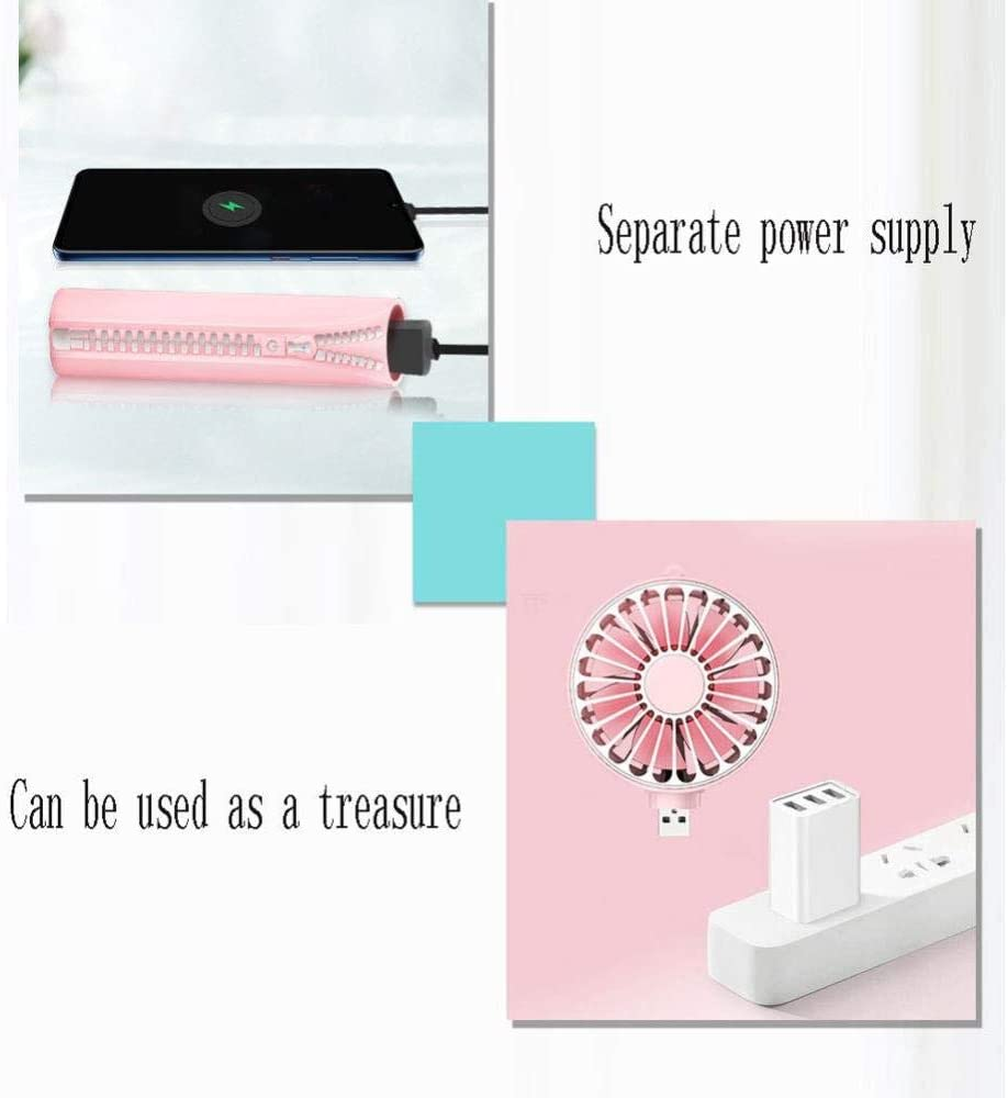 Seven-Leaf Design Low Noise 3 Speeds for Home Office Outdoor Travel,Pink,Pink ASDAD Mini Portable USB Fan Can Be Used As A Charging Treasure