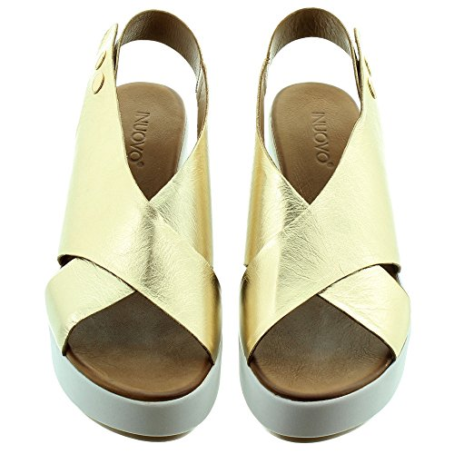 Inuovo Ladies 8697 Wedge Sandals in Gold tx26chKu
