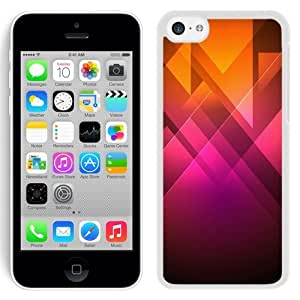 NEW Unique Custom Designed iPhone 5C Phone Case With Pink Orange Triangles Illustration_White Phone Case