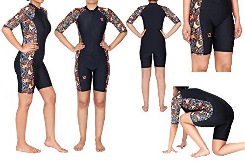 HB Ladies Modest Jumpsuit One Piece Swimsuit Surfing Suit Full Sleeve UPF 50+ Swimming Costume (Large, Aatashi) (Swimming Costumes)