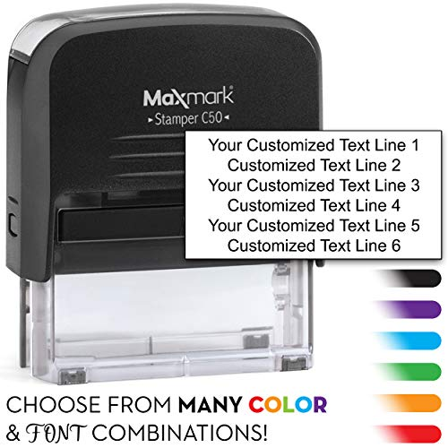 MaxMark Customized Self Inking Stamp - Up to six Lines of Text - Impression Size: 1.2