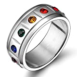 Alimab Jewelery Mens Womens Wedding Rings Stainless Steel Rainbow Crystal Circle Round