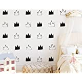 JOYRESIDE 48 Pieces/Set Crown Wall Decals Vinyl Art Sticker Removable Kids Girl Boy Baby Nursery Bedroom Decoration House Room Decor YMX08 (Black)