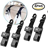 4 Pack Car Seat Headrest Hooks By Heliar - Backseat Headrest Hanger Storage For Handbags, Purses, Coats, and Grocery Bags, Universal Vehicle Car Seat Back Headrest Bottle Holder - Strong And Durable