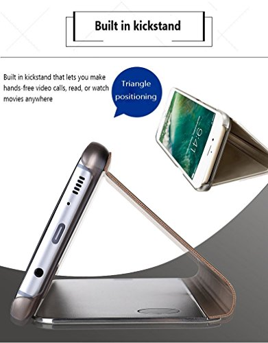 Caja del Teléfono Móvil Metal para HuaWei P10 Lite, HuaWei P10 Lite Case Mirror Funda, SevenPanda Flip Stand Luxury Mirror Funda Transparente del Teléfono Móvil Caja del Teléfono Inteligente Sleep / W Stand - Oro