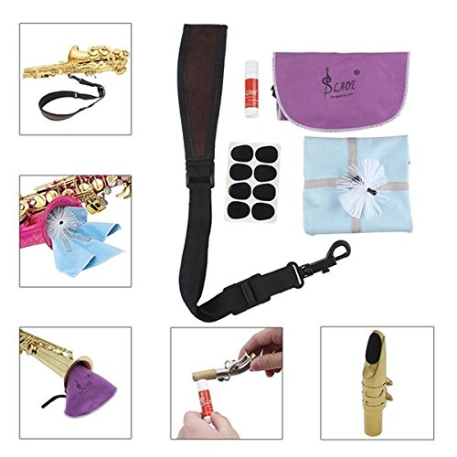 LADE 5 IN 1 Saxophone Accessories Set Strap Cork Grease Mouthpiece Cushions Cleaning Cloth