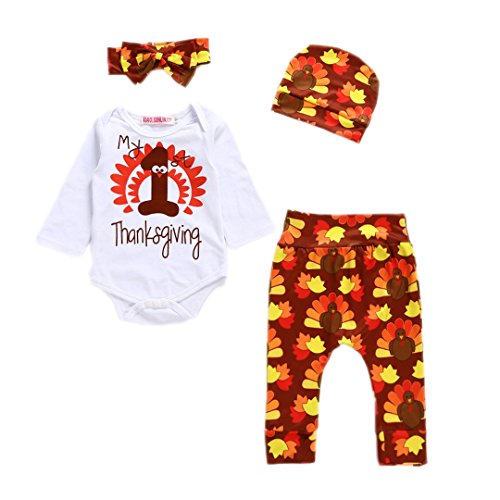 Thanksgiving Outfit For Baby Girl (HESHENG 4Pcs Infant Baby Boy Girl Clothes Thanksgiving Outfit Set Letter Print Romper + Turkey Print Pant with Hat and Headband (80/6-12months, picture color))