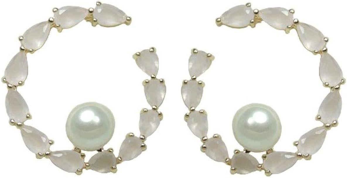 Pendientes de presión con piedras rosa clara y perlas. Z2014257