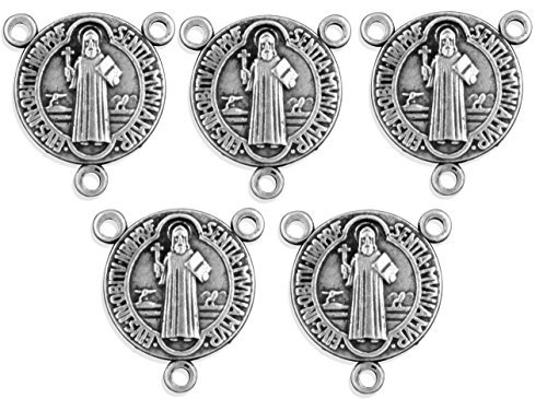 Pack of 5 Saint Benedict Medal Rosary Centers -