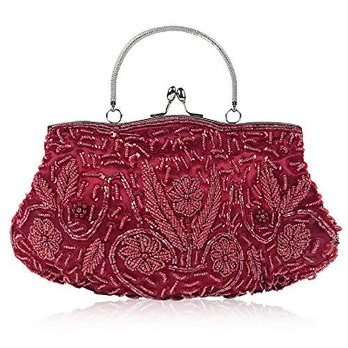 EROUGE Beaded Sequin Design Flower Evening Purse Large Clutch Bag (red)