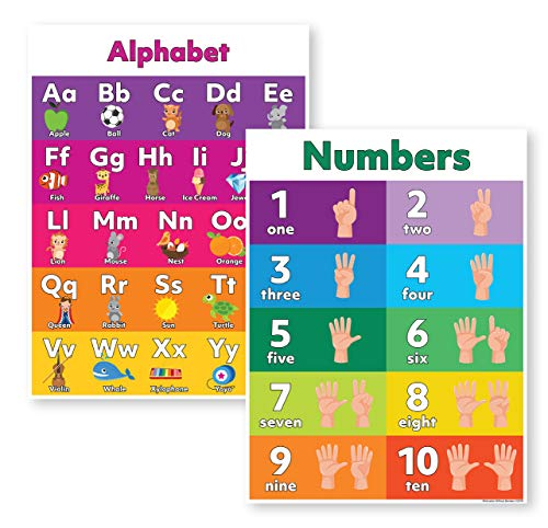 Alphabet Poster & Number Poster (Preschool Posters 18x24 Laminated) The ABC Poster and Numbers Poster are The Perfect Learning Posters for Toddlers Laminated (Laminated)