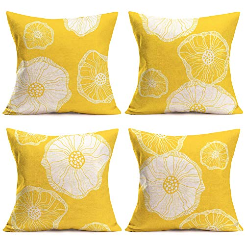 Lotus Cushion Cover - ShareJ Set of 4 Yellow Lotus Leaves Cushion Cover Throw Pillow Covers for Sofa Home Decorative Pillowslip Friends Gift Cotton Linen Pillowcase 18X18 Inch