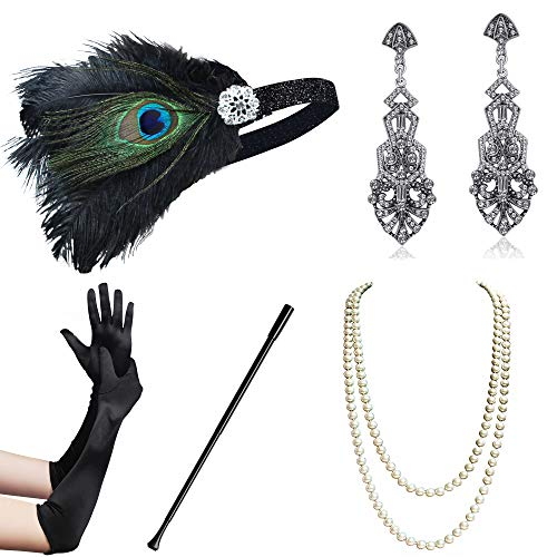 BABEYOND 1920s Flapper Gatsby Costume Accessories Set 20s Flapper Headband Pearl Necklace Gloves Cigarette Holder (Set-114)