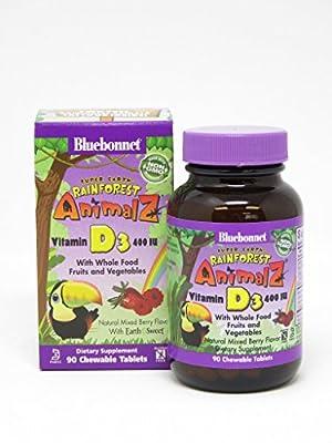 Bluebonnet Super Earth Rainforest Animalz Vitamin D3 400 IU Chews, Mixed Berry, 90 Count