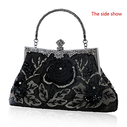Clutch Black Evening Vintage Floral Silver Wedding Purse Prom Style Handbag JAGENIE Beaded Party Bag wHCqZX