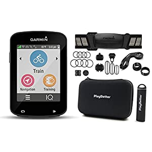 Garmin Edge 820 Cycle Bundle with Chest HRM, Speed/Cadence Sensors, PlayBetter Silicone Case & HD Glass Screen Protectors (2 Pack) | Touchscreen, GPS Bike Computer (Black Case, Bundle)