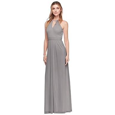c0307825 David's Bridal Beaded Keyhole Long Mesh Bridesmaid Dress Style W11046,  Mercury, 26 at Amazon Women's Clothing store: