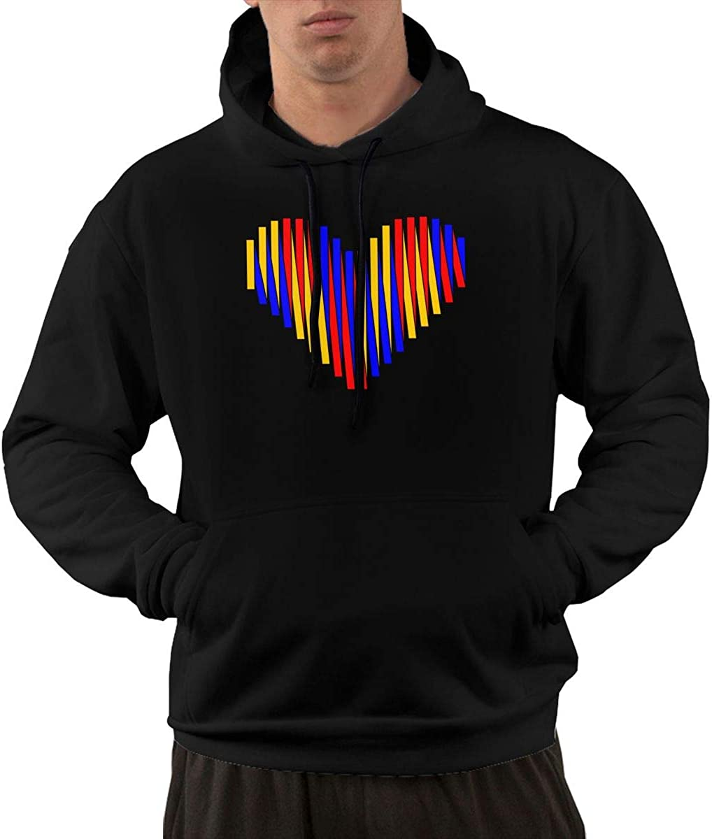 Mens Pullover Hoodie Outer Jacket with Pockets Venezuela Heart Love