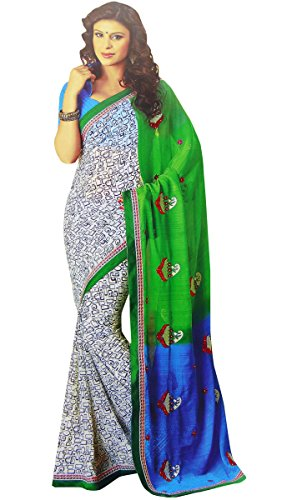 [Floral Georgette Saree Indian Costume Sari With Blouse Unstitched Women Wear] (Bollywood Costume Party)
