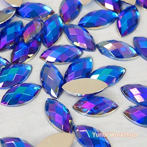 Horse Eye (Dark Purple AB) Shape Acrylic Flatback Rhinestones Scrapbooking Nail Craft - Iridescent - 200pcs/ 1000pcs (6mm x 12mm, 1000pcs)