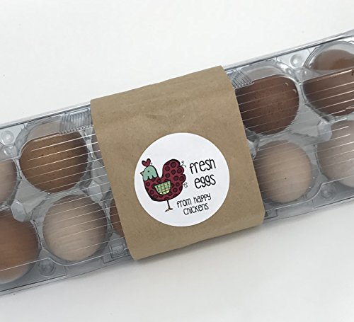 Fresh Eggs From Happy Chickens Egg Carton Stickers, Farm Fresh Eggs, Egg Carton Stickers, Homestead Packaging (Custom Egg Carton Labels)