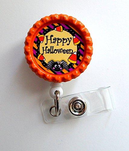Happy Halloween - Name Badge Holder - Teacher Badge - Nursing Badge - Nurses Badge - Halloween Badge- Alligator Clip - Halloween Badges