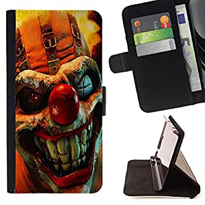 King Air - Premium PU Leather Wallet Case with Card Slots, Cash Compartment and Detachable Wrist Strap FOR Samsung Galaxy G360 G3608 G3606- Clown Joker