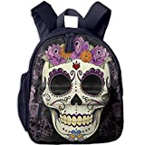 Flower Sugar Skull Double Zipper Waterproof Children Schoolbag With Front Pockets For Youth Boys Girls