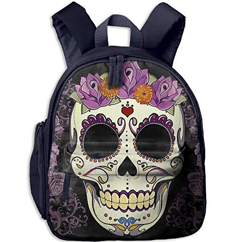 Flower Sugar Skull Double Zipper Waterproof Children Schoolbag With Front Pockets For Youth Boys Girls by TPXYJOF