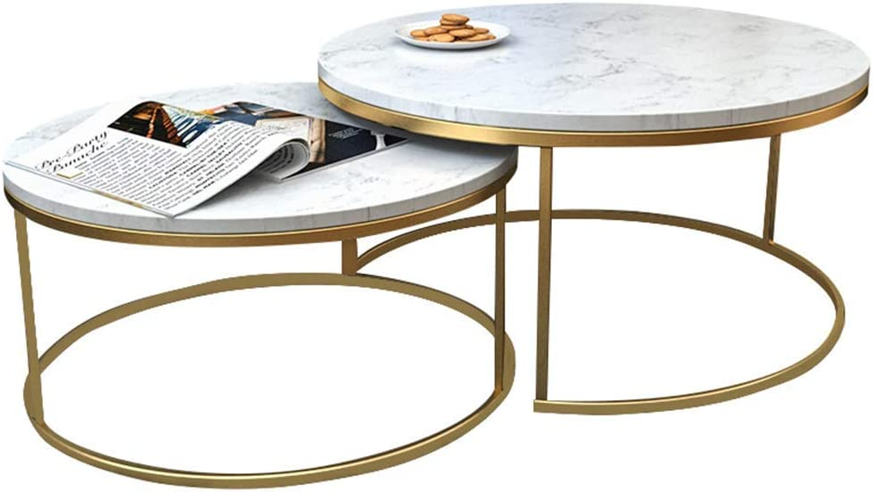 HLL Tables,Home Furniture 2 Piece Marble Coffee Table,Stacking Nesting End Table for Living Room Hotel,Metal Base,Light Furniture,80cm+65cm,80cm+65cm