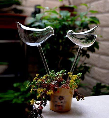 Aqua Bulbs Hand-blown Mini Glass Automatic Plant Waterer Bird Decorative Design,Set of 3 ()