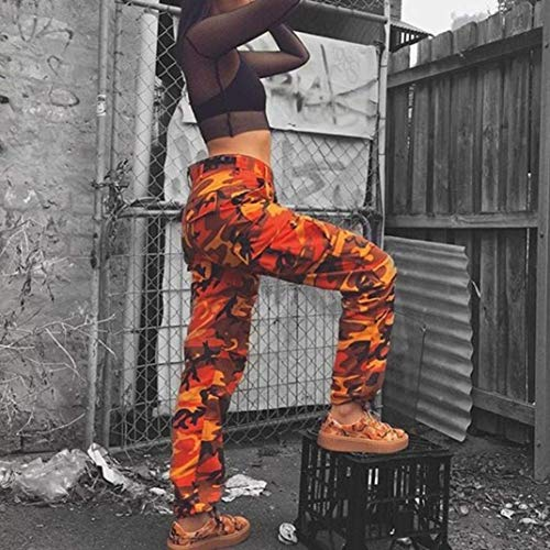 Stretch Camuflaje Pantalones Deportivo Vaqueros Camo Para Street De Huixin Laterales Baile Bolsillos Naranja Exteriores Mujer Carga Botones qPwBRd4xY