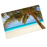 Custom Summer Beach Palm Tree Entrance Mats Floor Carpet Interior / Outdoor / Front Door / Bathroom Mat Rubber Non-slip Doormat (23.6 L x 15.7 W)