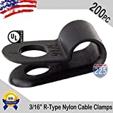 R-Type Cable Clamps Nylon Black Hose Wire Electrical Ring Loop