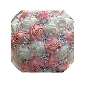 Pink Ivory Champagne Satin Rose Festival Stitch Bouquets Custom Ribbon Wedding Bridal Bouquet Flowers,Ivory Peach,24cm Diameter 100
