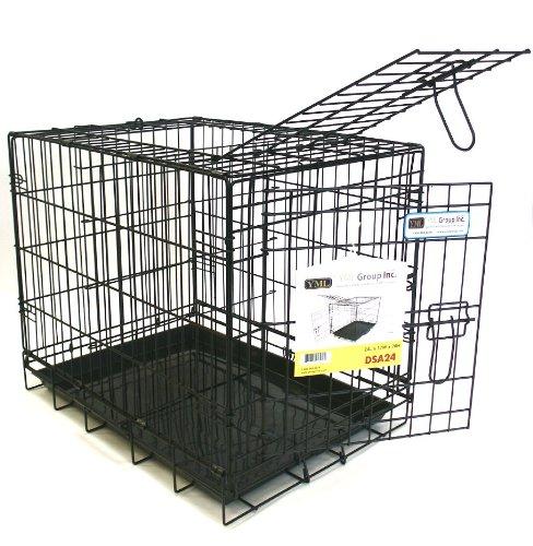 Double Door Heavy Duty Dog Crate in Black