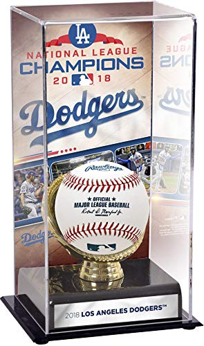 Sports Memorabilia Los Angeles Dodgers 2018 National League Champions Sublimated Display Case with Image - Baseball Free Standing Display Cases